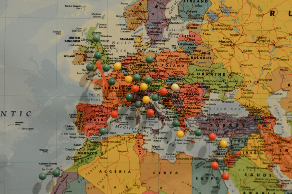 The Europe section of the pinboard.