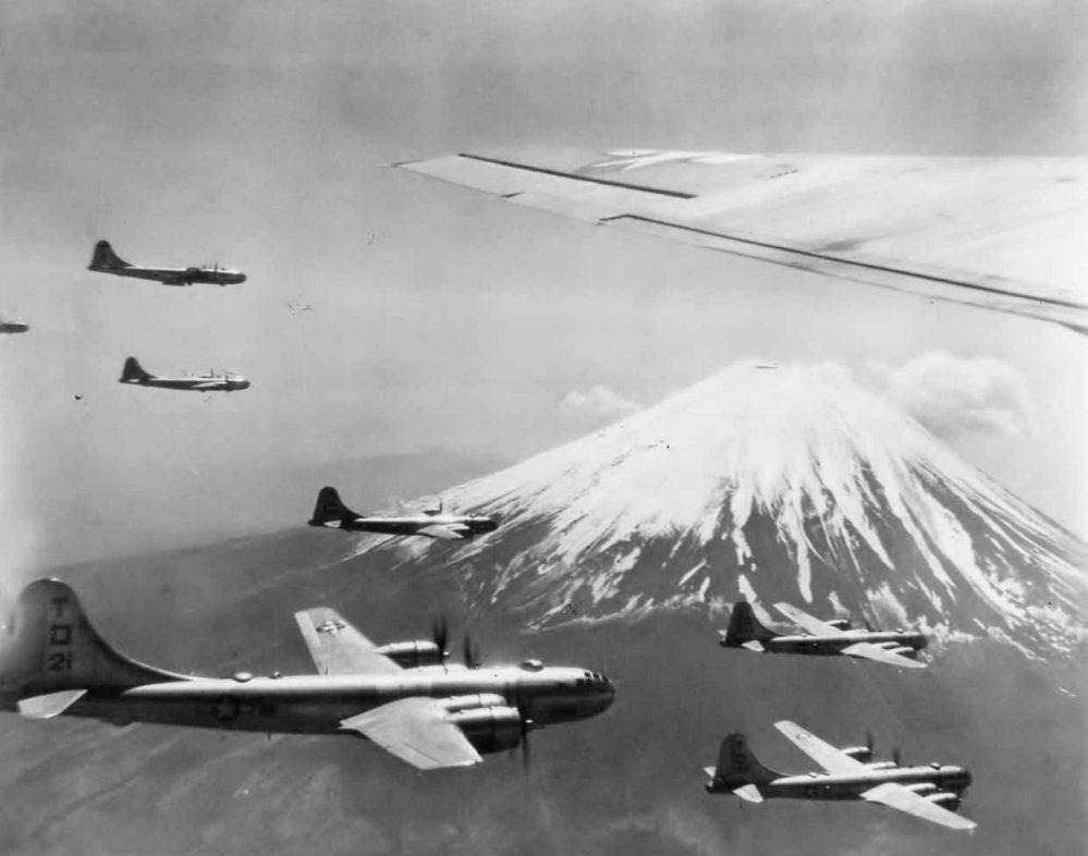 B-29 bombers flying over Mount Fuji