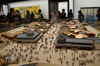 scale model replicas of the chonin district and daimyo (feudal lord) residences during the Kanei period (1624-1643), as well as the Edo Castle from the late Tokugawa period.