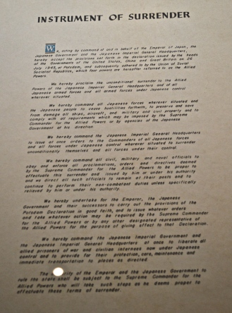 Fascinating document outlining Japans surrender to the allied forces in WW2.