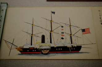 Japans foreign policy - Sakoku was swiftly ended upon the 2nd coming commander Perry. In this picture you see an interpretation of one of the ships which had made the journey from the U.S in 1853.