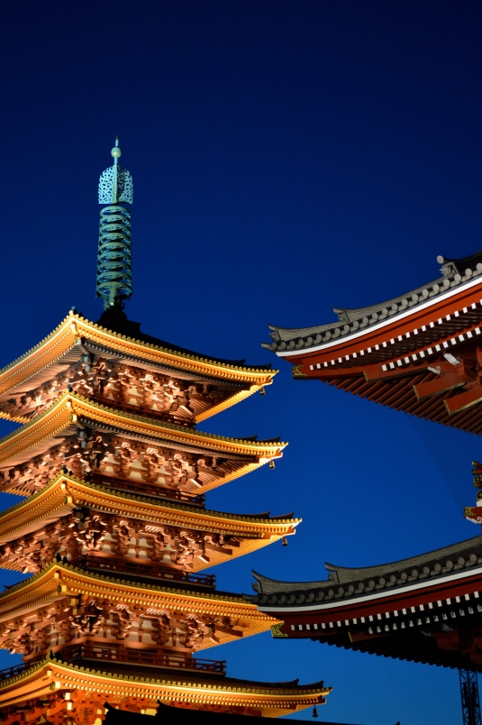 Beautiful hue blue night sky outlines the perfect Japanese design.