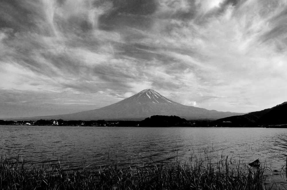 Black and white Mount Fuji Japan