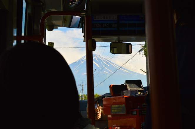 First glimpse on the shuttle bus to Lake Kawaguchiko.