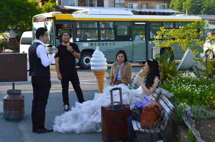 Bride to be takes a short break and enjoys a delicious ice cream.